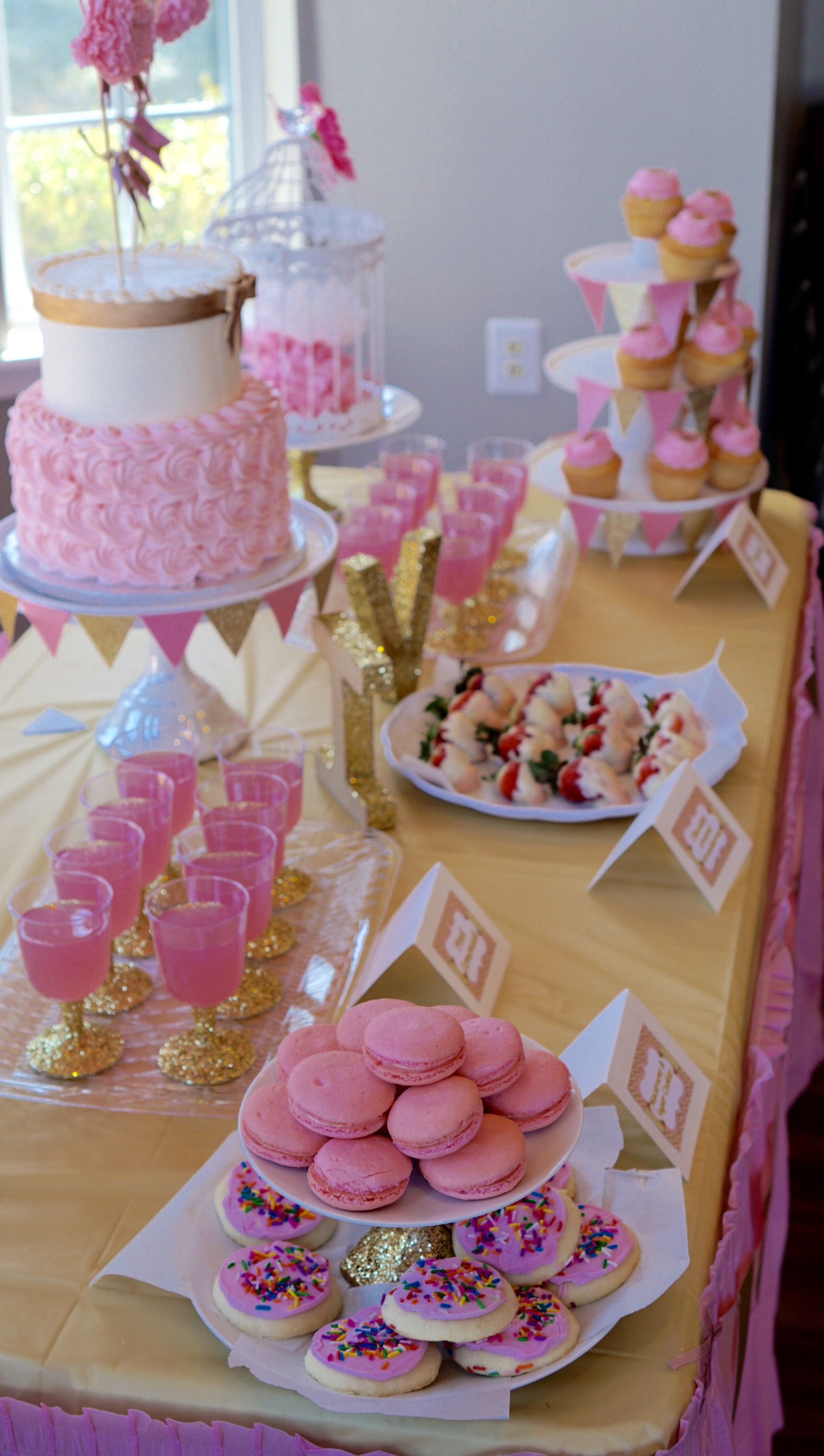 Pink And Gold Baby Shower Dessert Table