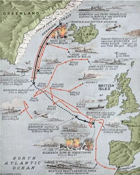 The bismark hunt world war i ii pinterest history sinking the bismarck map of the last voyage of the bismarck may military history monthly battle maps gumiabroncs Images