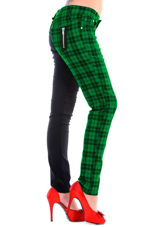 Banned Red Check Half Black Split leg Trousers Jeans Pants PLUS SIZE 18 20 22