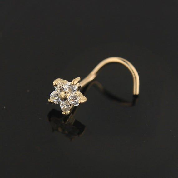 9Ct Gold Nose Stud with Cubic Zirconia Flower- #jewelry @EtsyMktgTool #nosepiercingring #20gaugenosering #goldnosering #nostrilpiercing