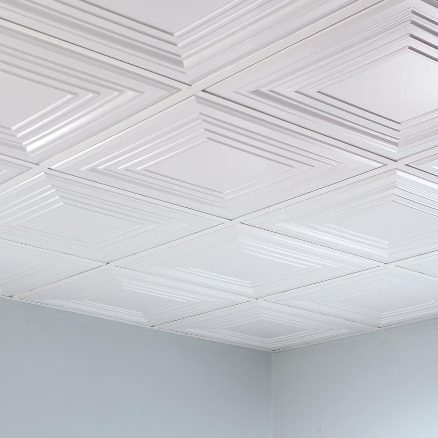 20 Cool Basement Ceiling Ideas: Fasade Ceiling Tile-2x2 Suspended-Traditional 3 In Matte