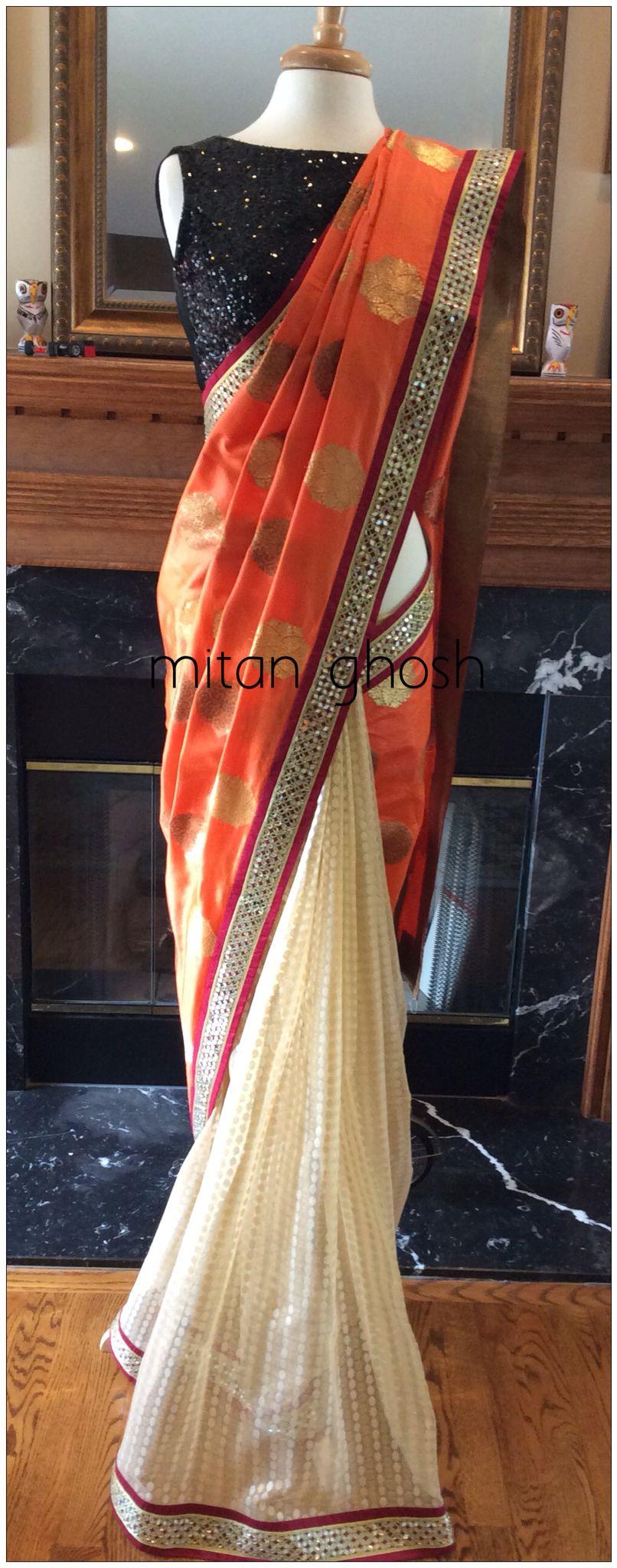 Banarasi Saree with mirror border | Simple sarees
