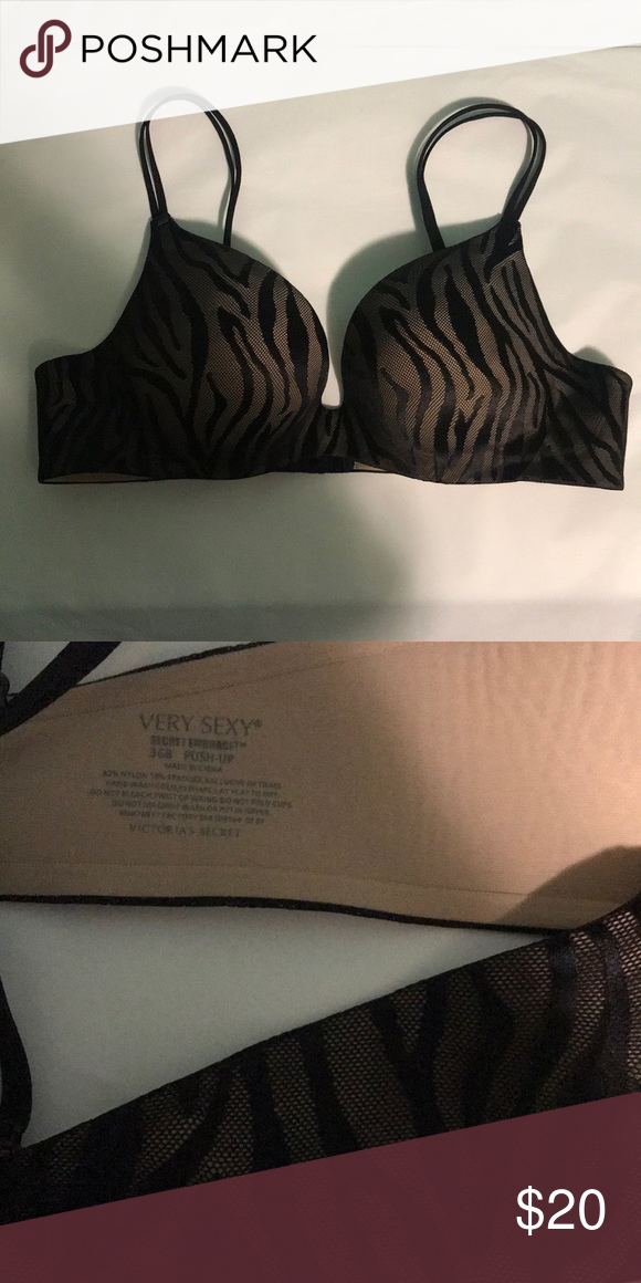 e5d99dfdd4 New Victoria s Secret very sexy push up bra New Victoria s Secret very sexy  Secret embrace push up bra. Black nude zebra. Perfect condition Victoria s  ...