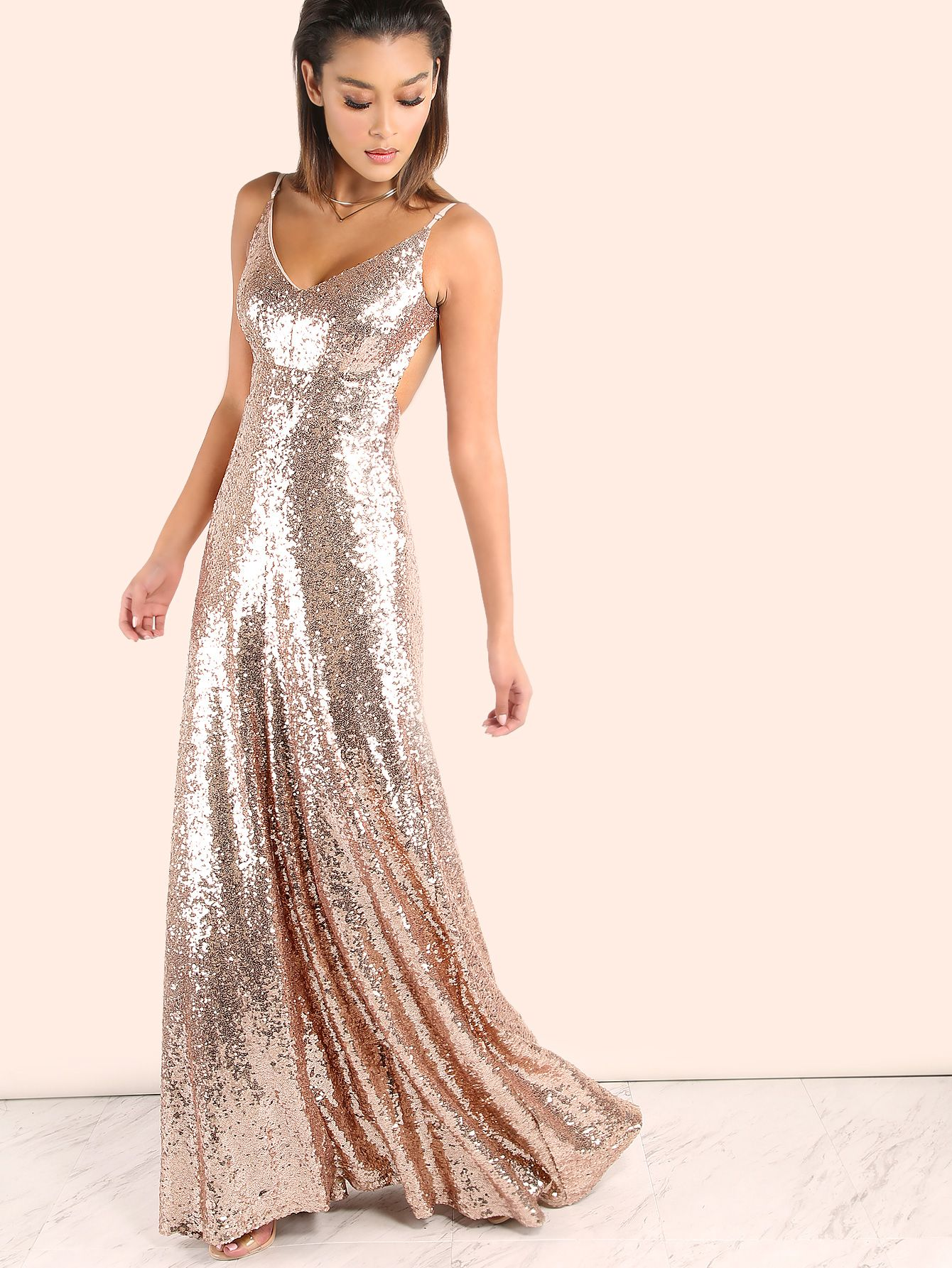 Maxi Kleid Rückenfrei Pailletten -Rose gold - German SheIn(Sheinside ... 54c676465d