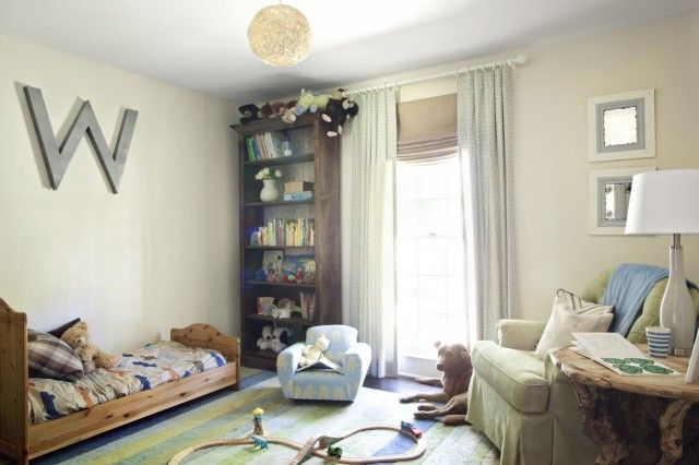 Nursery inspiration. The large letter on each kids room would tie them together. DIYable light. From MilkandHoneyhome