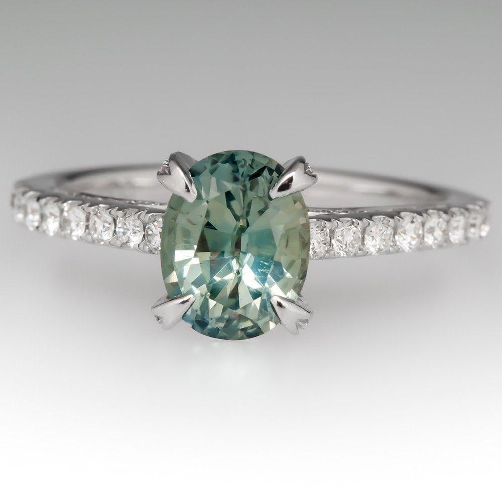 Pastel Light Green Sapphire Engagement Ring 14k White Gold Green Sapphire Engagement Engagement Rings Sapphire Green Sapphire Engagement Ring