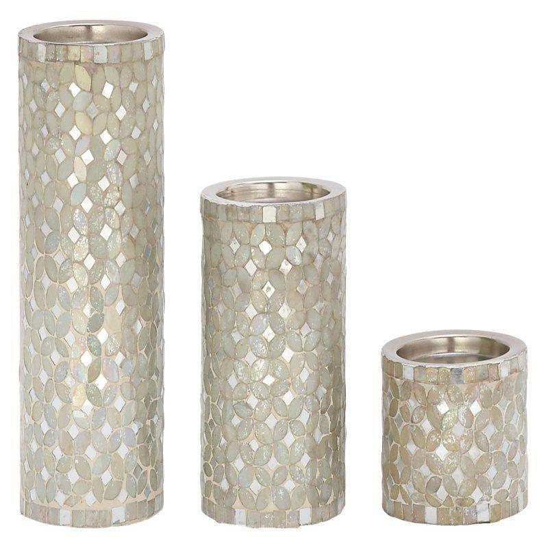 DecMode 11-in  Cylinder Candle Holder - Set of 3 - 42139