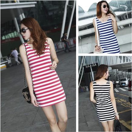 2014 New Summer Women High Quality Sexy Striped Vest Cotton Dress Bodycon Dress Free Shipping $10.54