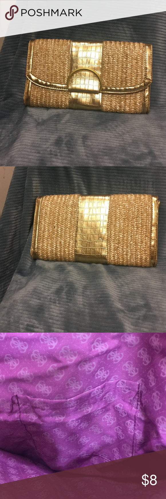 A wicker metallic gold basket clutch purse Trendy Bags Clutches & Wristlets