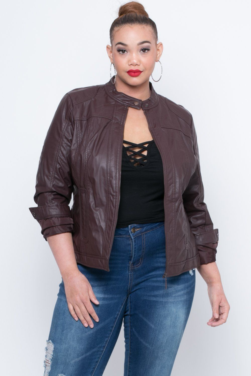 Plus Size Faux Leather Bad Girl Jacket Wine Outerwear