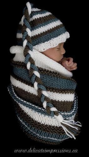 Photography Cocoon with Matching Hat pattern by Hand Knit by Cara ...