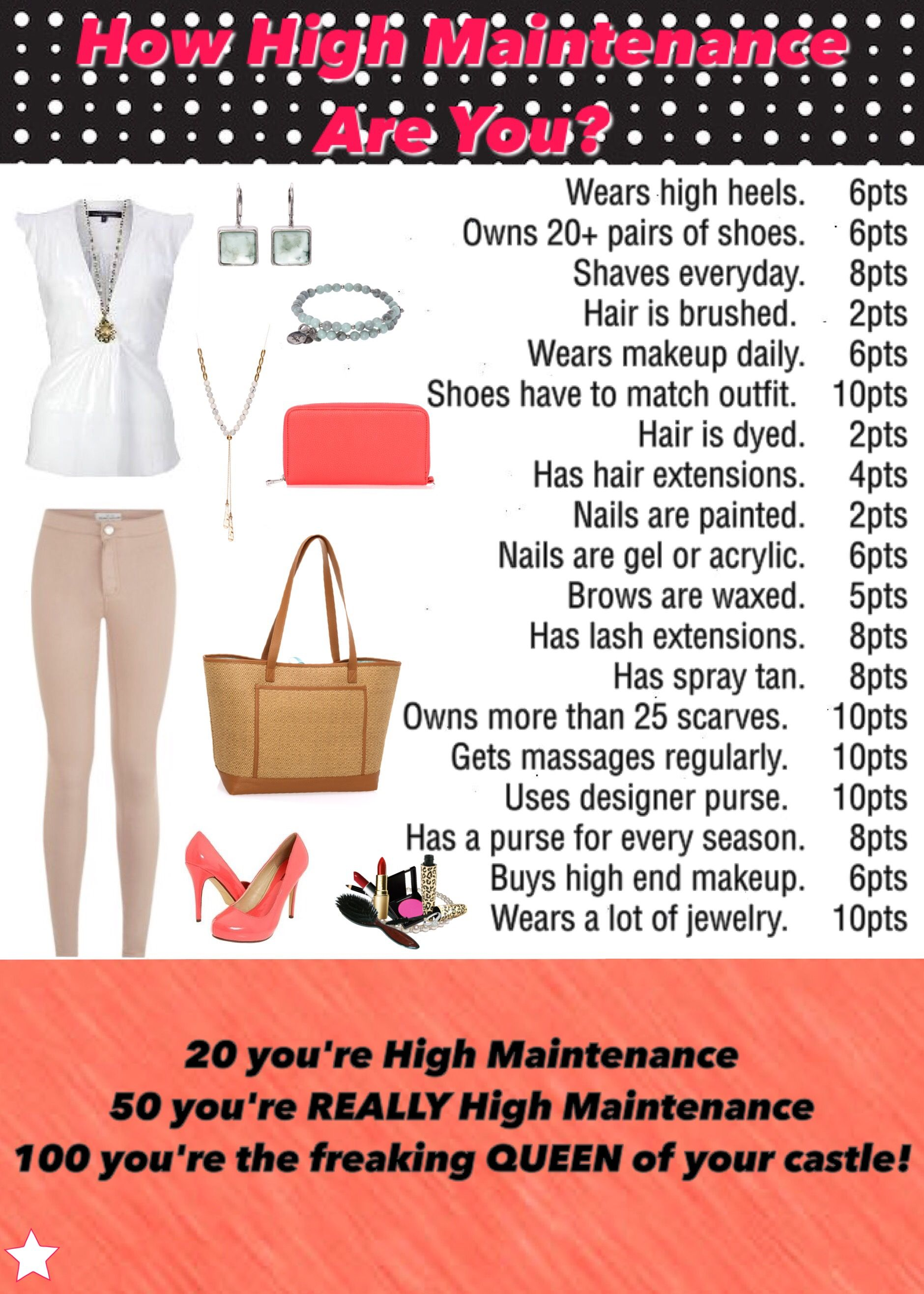 How high maintenance are you? Interactive graphic/game for ...