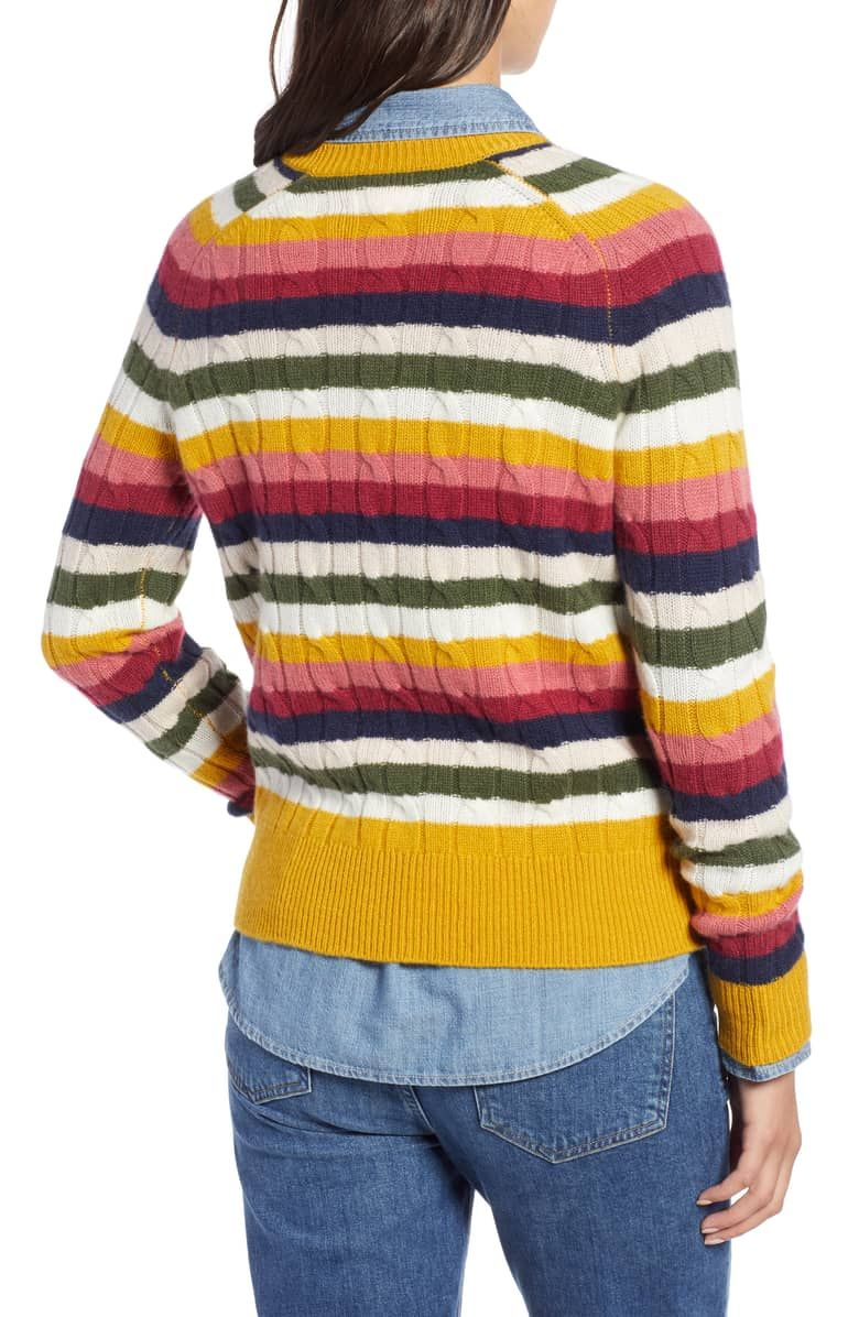 07887dba5c Cashmere Cable Sweater, Alternate, color, RED MULTI HAPPY STRIPE ...