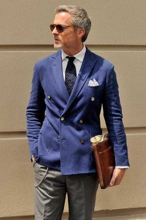 Blue Double Breasted Suit Jacket, Gray Pants/Trouser | Men's ...