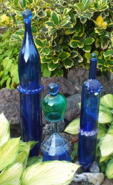 Glas Gartenstecker Aus Blauen Flaschen S Hopp In Unserem Garten