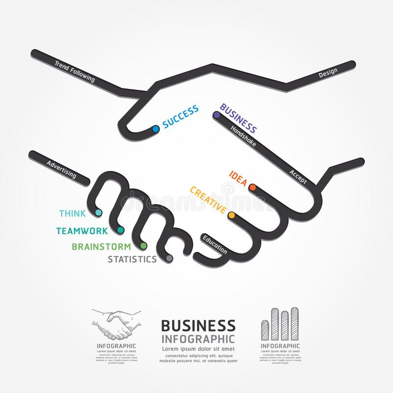 Business Handshake Diagram Line Style Template Can Be Used For Infographics G Ad Line Sty Business Infographic Infographic Inspiration Handshake Logo