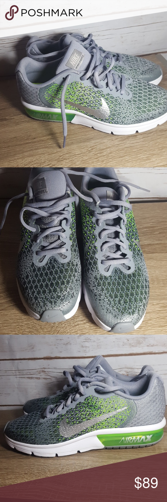 970bf4d678107c Nike Air Max sequent 2 GS grey green running shoe New no box Youth size 6.5  Women 8 Pet free smoke free home Nike Shoes Sneakers