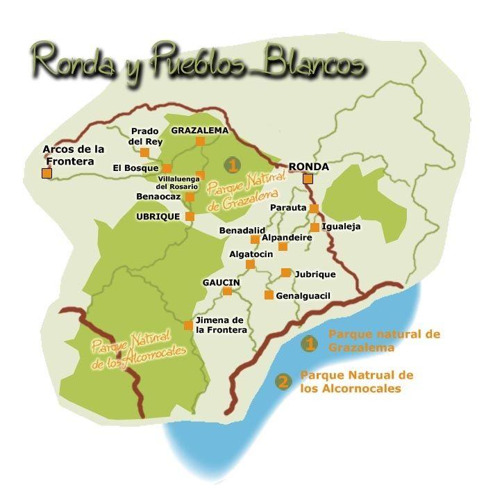 mapaderonda y pueblos blancos  Pueblos blancos Cdiz y Mlaga