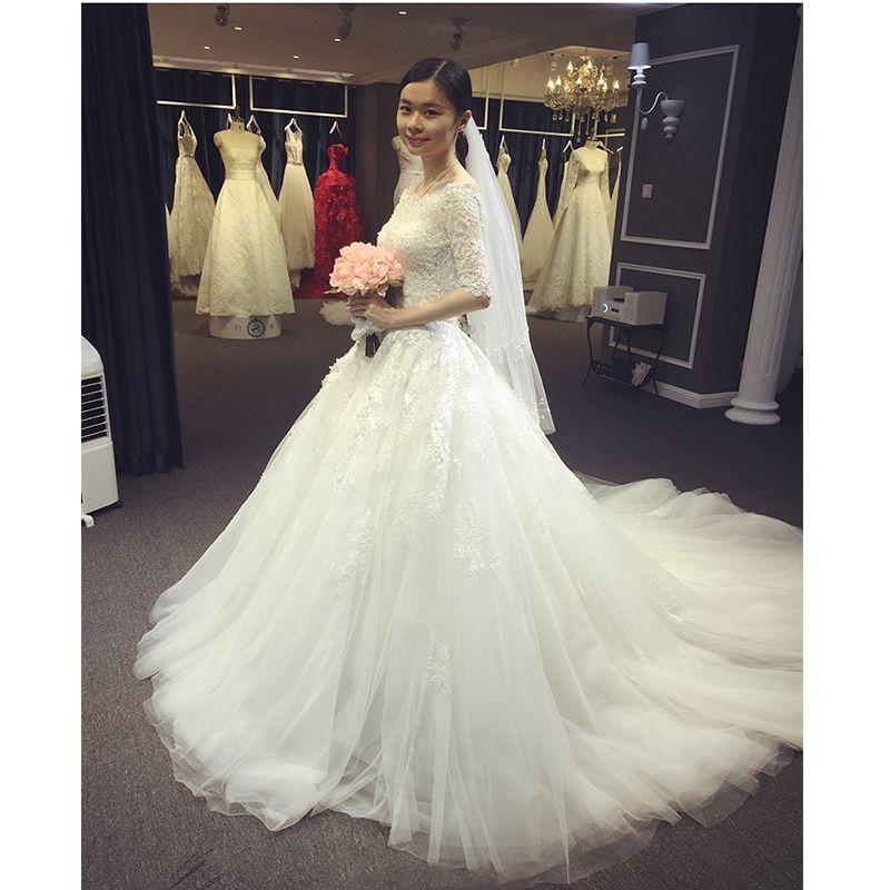 Click to Buy << Vestidos De Novia 2016 Ball Gown Lace Wedding Dress ...