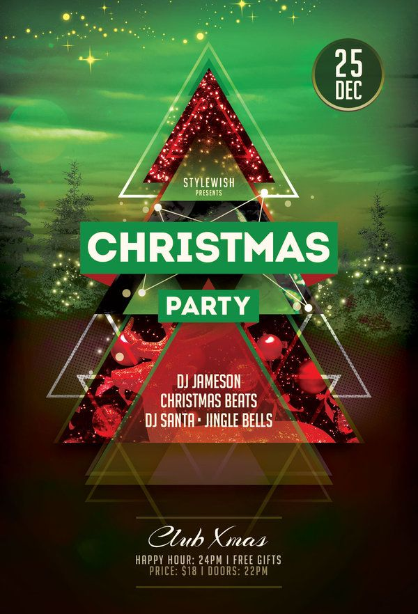Christmas Party Flyer Template by styleWish (Download PSD file - free printable christmas flyers templates