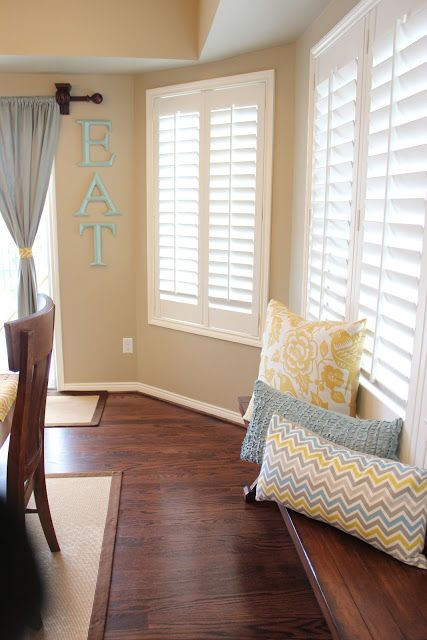 Quot Eat Quot Sign And Bright Colors Like The Clean Blinds Look Instead Of Curtains Home Decor Home