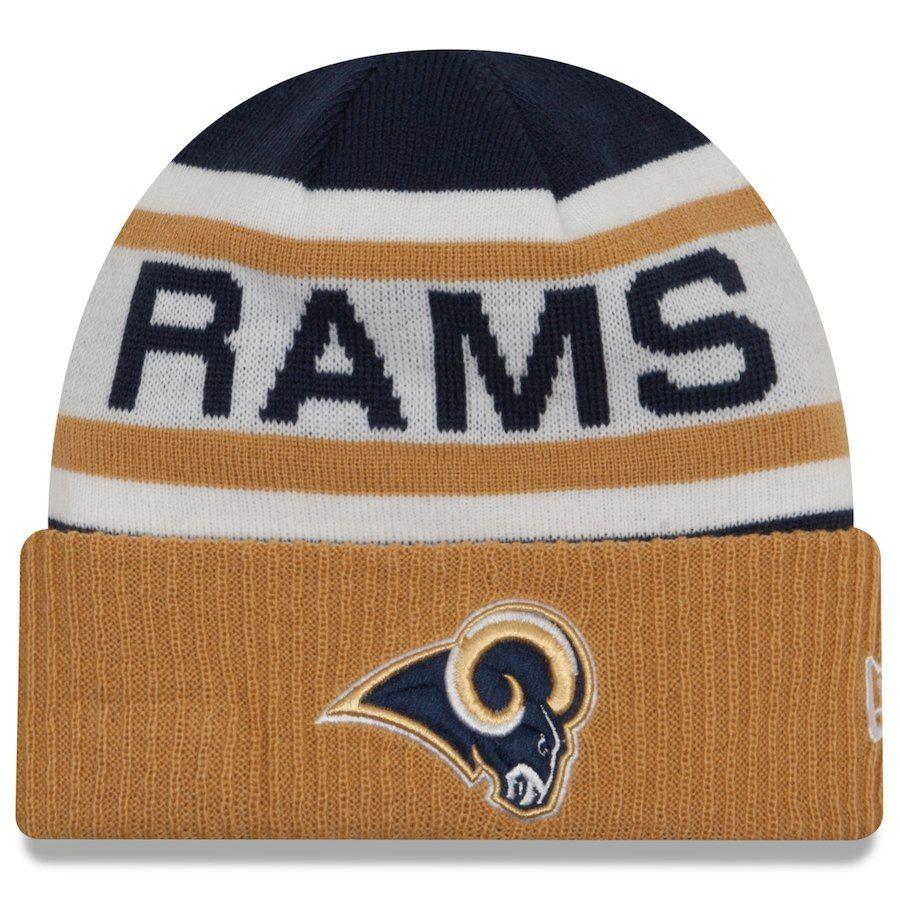 14b0f2d5e Men s Los Angeles Rams New Era Navy Gold Biggest Fan 2.0 Cuffed Knit ...