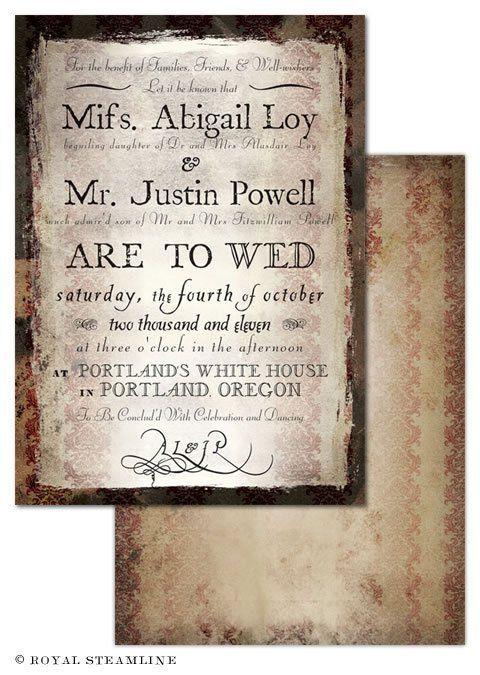 Regency Era Wedding Invitations Royal Steamline Fo Real Tho