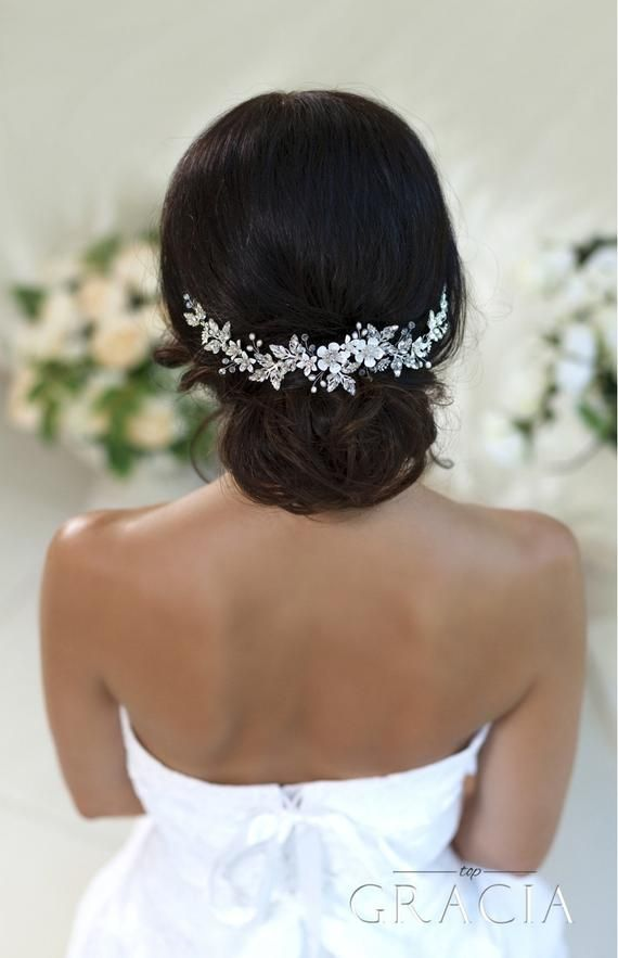 Wedding hair accessories Bridal hair piece Wedding headband Crystal hairpiece Rhinestone headpiece Flower Bridal Headpiece With Crystals #bridalhairflowers