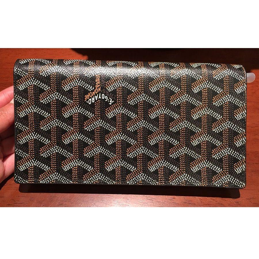 60dbd2dd122 Goyard mens long wallet flap 2 folded black GOYARD - BUYMA
