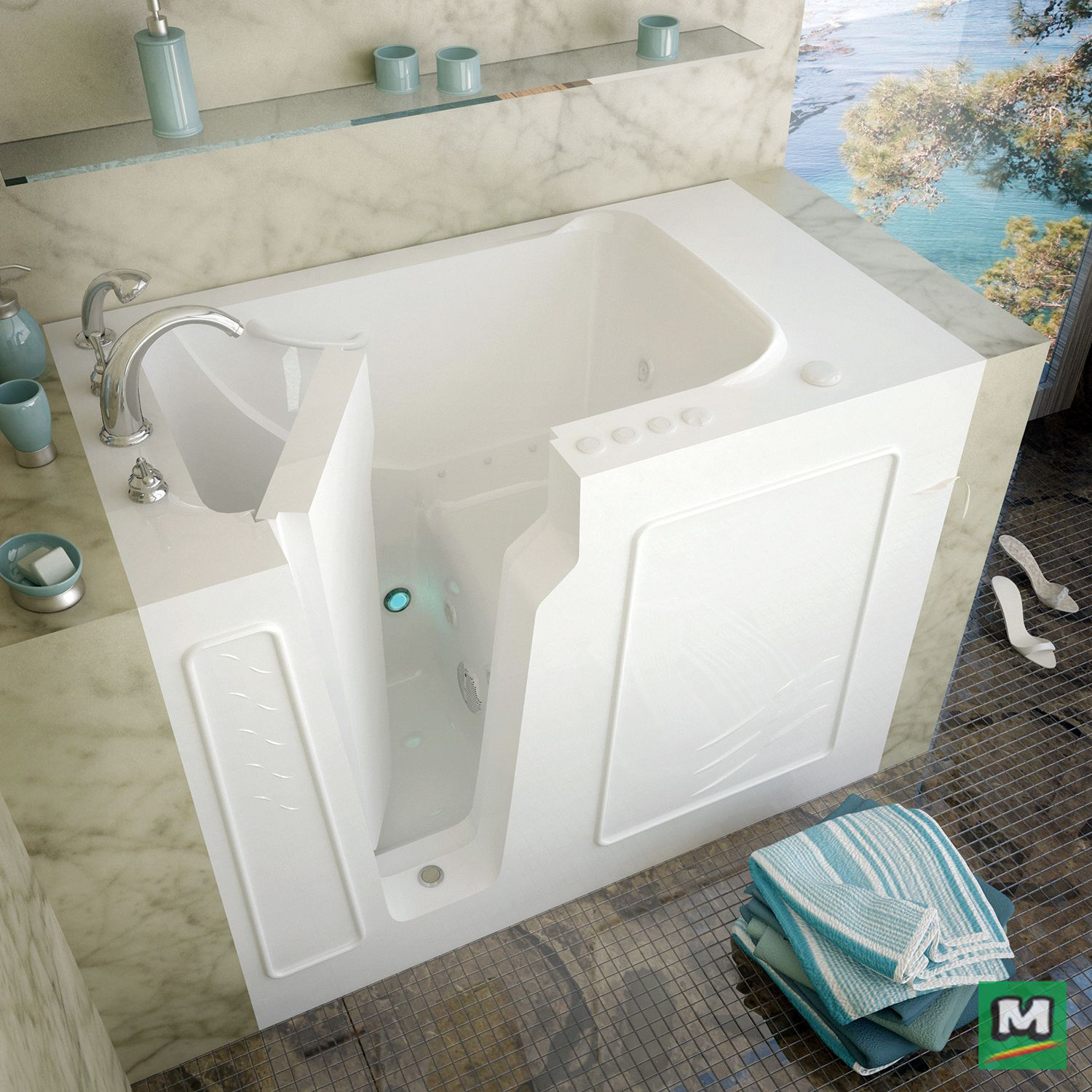 After A Long Day Take A Break In This Meditub 52 X 29 Dual Massage Walk In Bathtub Equipped With 16 Air Bu Walk In Bathtub Bathtub
