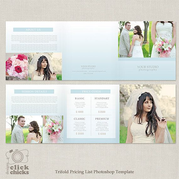 5x5 Trifold Pricing List Template - Photography Pricing Guide - price sheet template