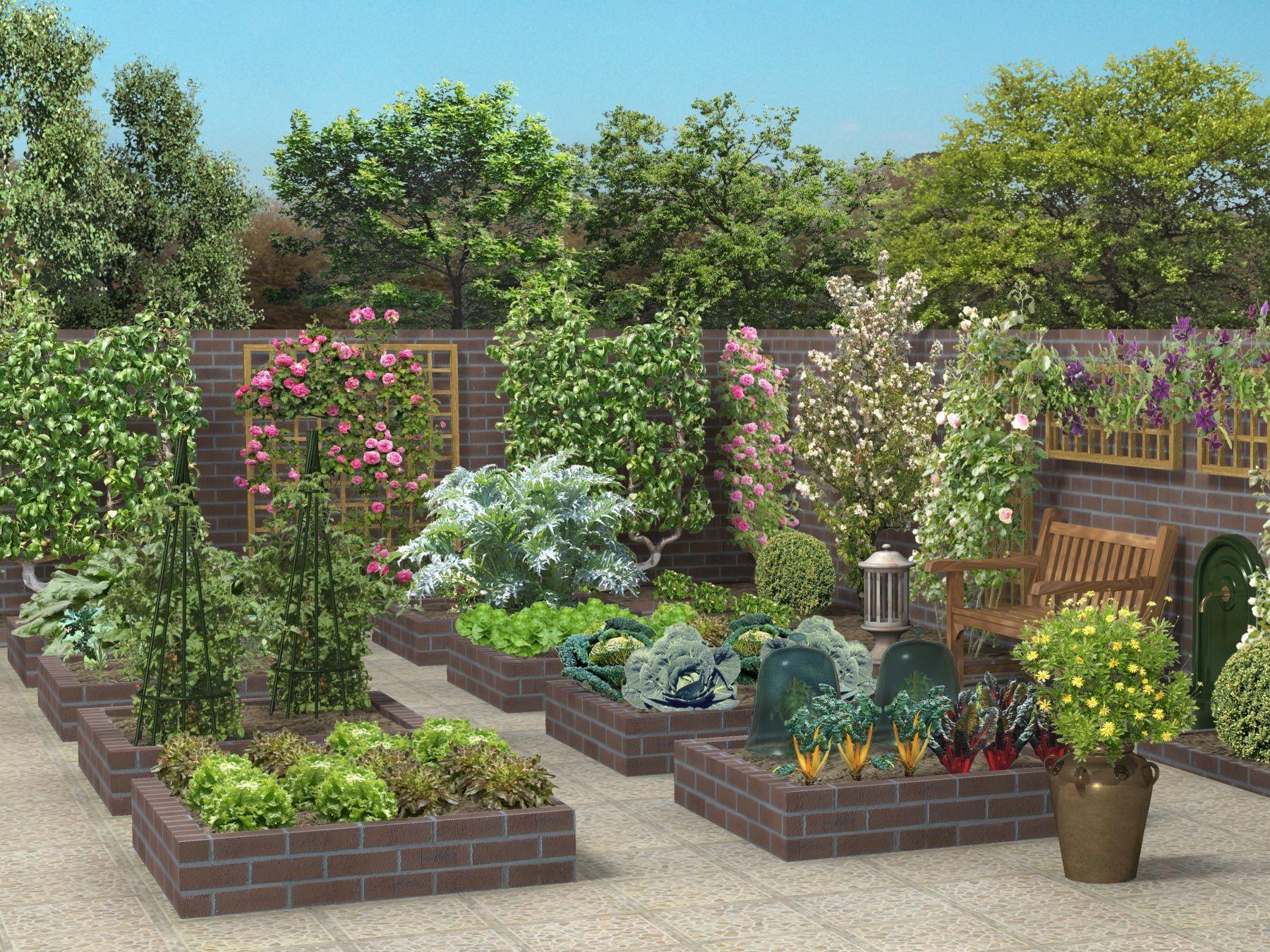Potager briques rouges jardin potager jardin potager potager et plan jardin - Carre de jardin potager ...