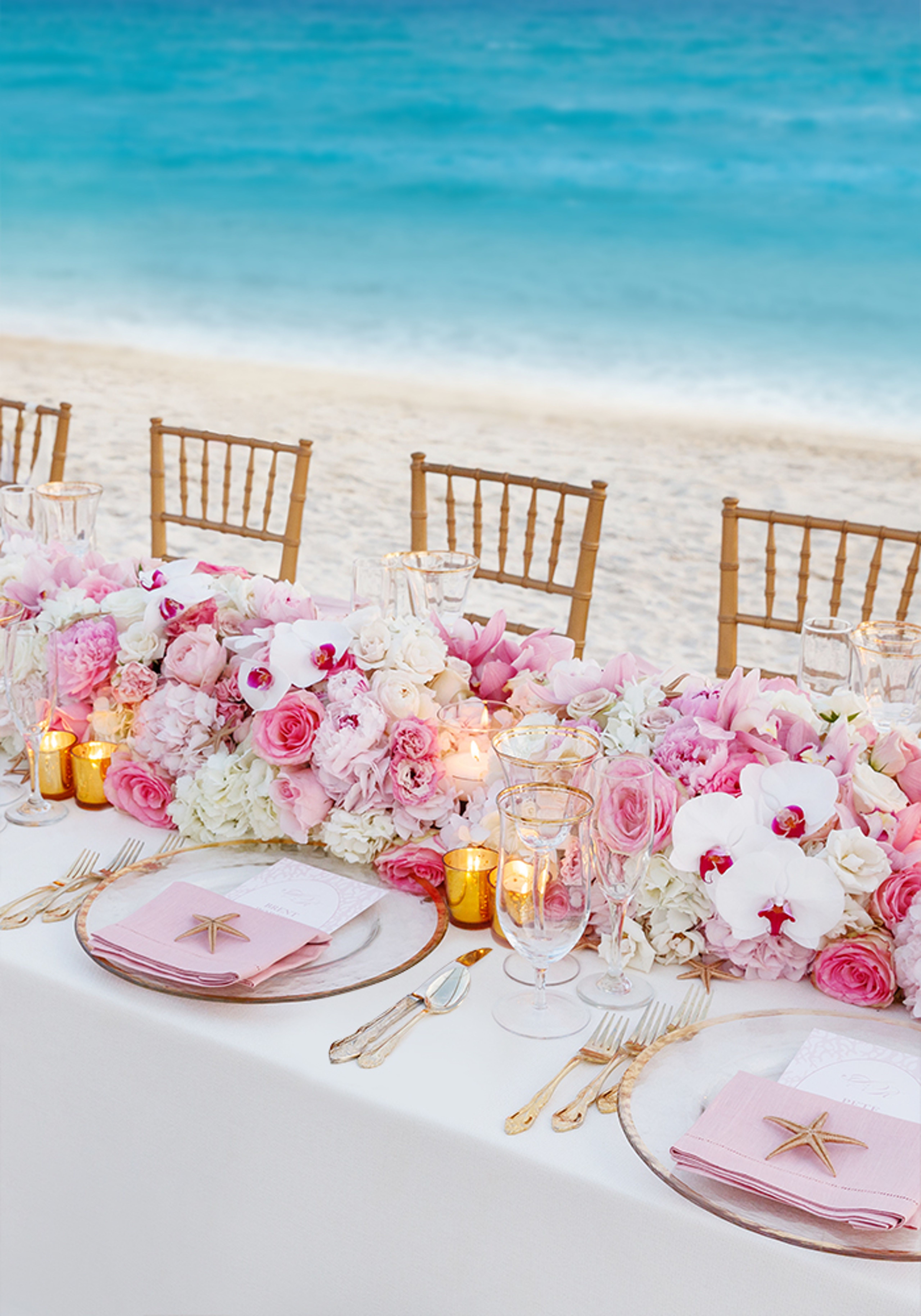 Colin Cowie Celebrations Romantic Caribbean Beach Wedding Beach Wedding Pink Beautiful Beach Wedding Beach Wedding Reception Tables