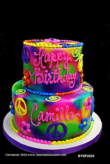 Bysp2025 70s Groovy Tye Dyed Birthday Cake Pasteles