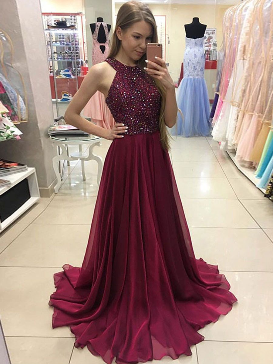 Aline sleeveless halter beaded sweep train prom dress prom beads