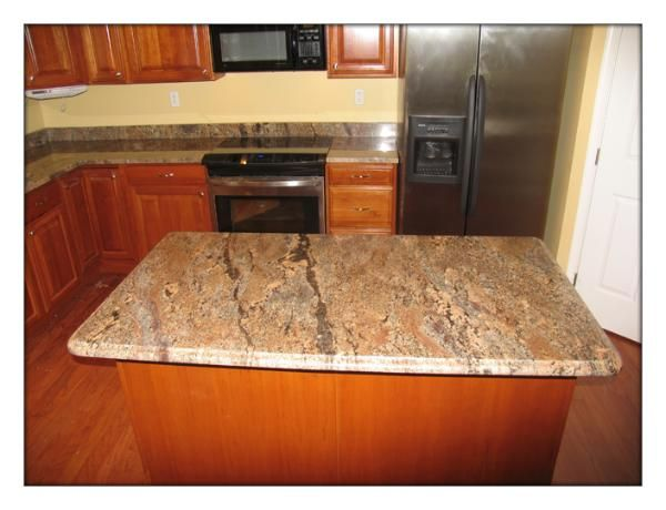 Crema Bordeaux Granite Countertop With Island