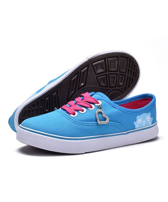 Blue & Fuchsia Rhinestone Heart Charm Sneaker - Kids