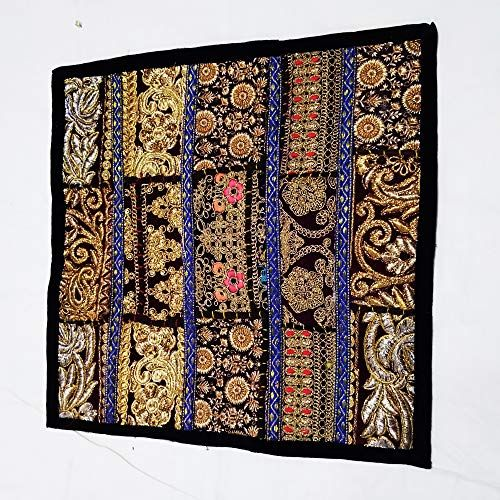 USALOVER Two Embroidery Sequin Cushion Cover 12x12 inches Indian Boho Hippie Patchwork Throw Pillow Cushion Cover Decorative Bohemian Pillows Cotton Handmade Embroidered Pillow Cases (Black) HC - 10
