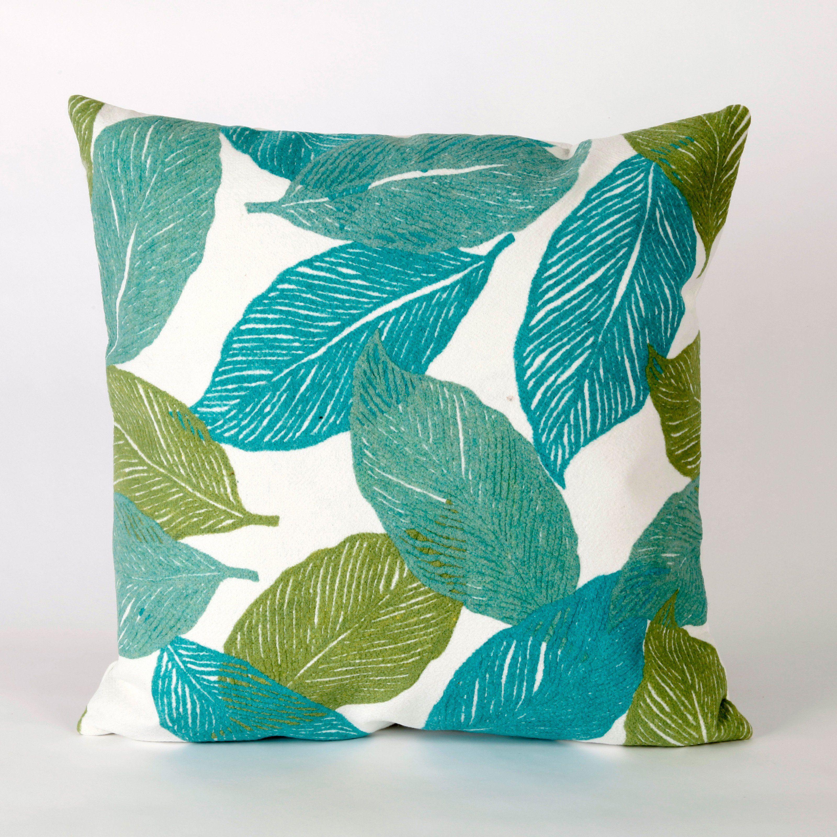 Liora Manne Mystic Leaf Indoor Outdoor Throw Pillow Aqua Pillows Throw Pillows Outdoor Throw Pillows