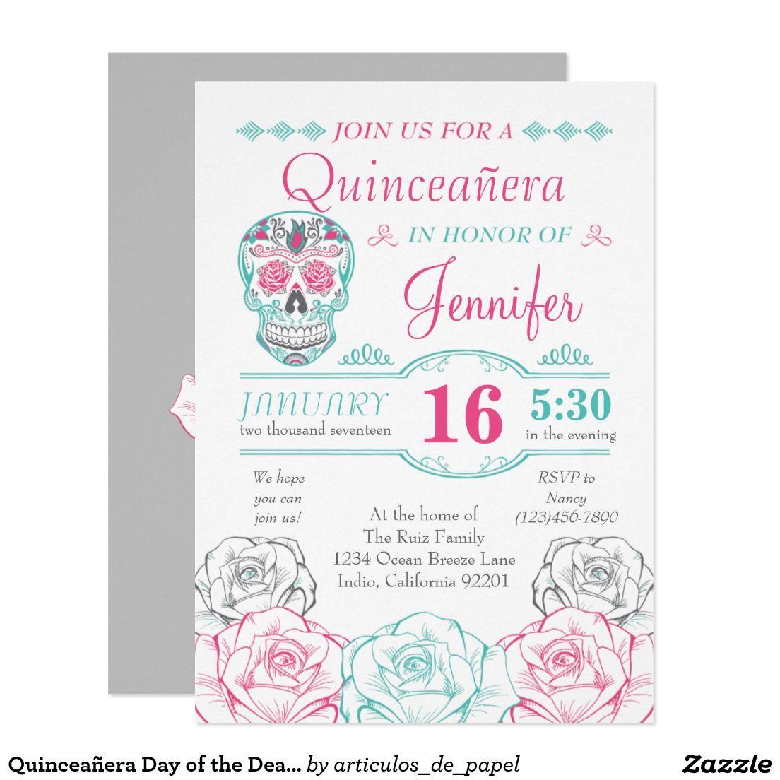 Quinceañera Day of the Dead Sugar Skull Invitation | Skull Sweet 16 ...