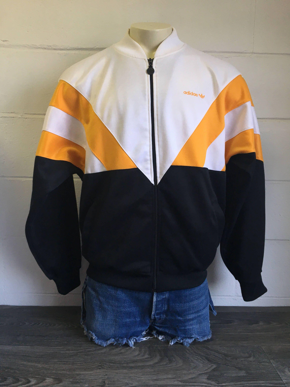 Vintage ADIDAS Jacket 90s Trefoil Gold Black Runner Warm Up