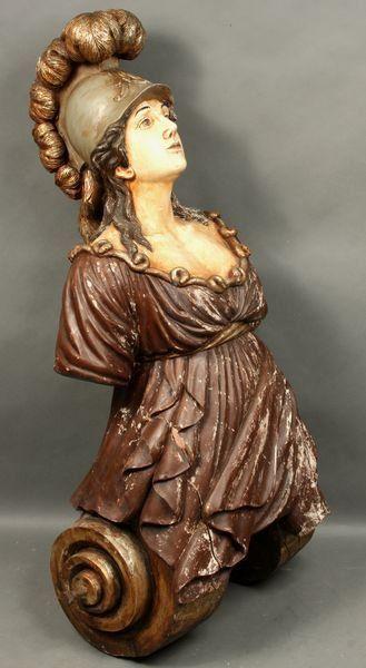 19th C. Ship's Figurehead of Woman with Helmet.