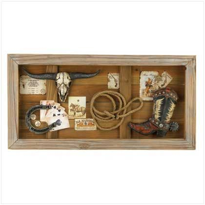 Wild west shadow box for decorating with cowboy boot  lasso and horseshoeWild west shadow box for decorating with cowboy boot  lasso and  . Wild West Home Decor. Home Design Ideas
