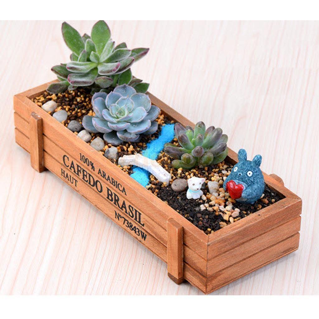 Vintage Wood Garden Flower Planter Succulent Pot Rectangle Trough Box Plant Bed