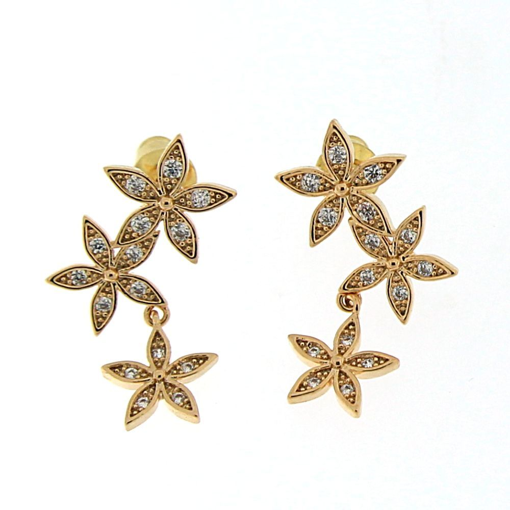 Body piercing jewelry types  Triple Flower with Micro Setting Stone Ear Stud  Products
