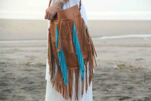 Fringe Leather Handbag Boho Cross Body Western Purse Tan Turquoise Native