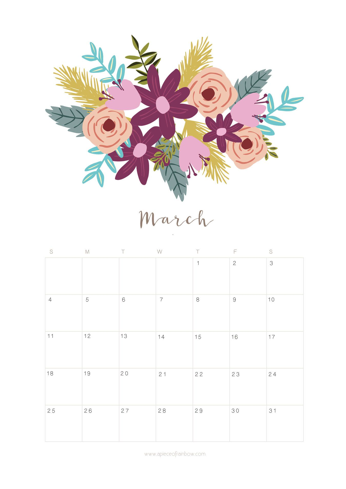 Calendar Flowers : Printable march calendar monthly planner flower