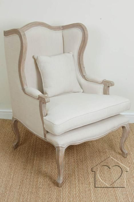 French Shabby Chic Beige Bergere Armchair Oak Bedroom Furniture