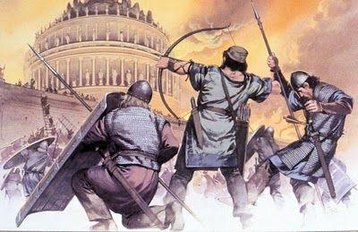 Belisario reconquista Roma al césar de Oriente Justiniano, a costa del mausoleo de Adriano.