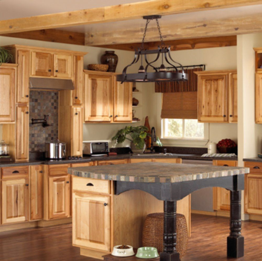 Assembled Hickory Kitchen Cabinets These Natural Hickory Kitchen Cabinets Have Built In Stainless Ste Hickory Kitchen Cabinets Hickory Kitchen Rustic Kitchen